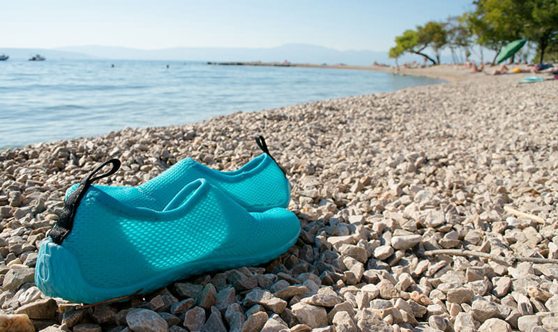 water shoes on beach