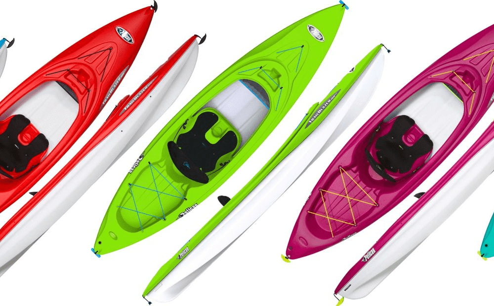 a different colors of kayak boat in blue, green, pink, and cyan blue in show in other side of kayak boat