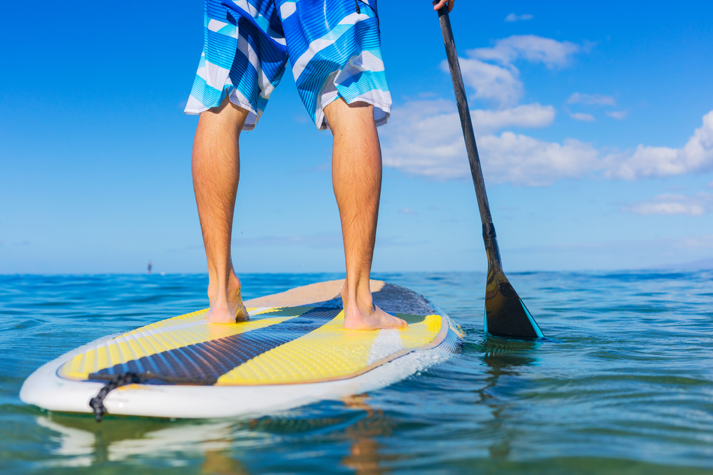Man Using paddle board on the body of water