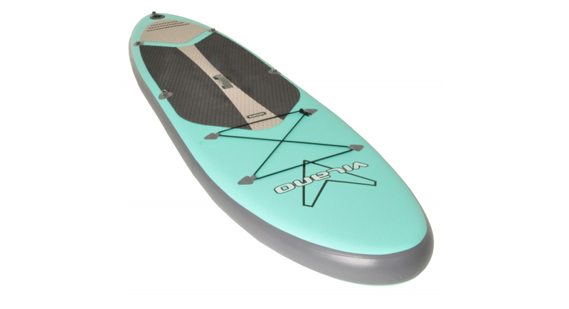 Sky blue paddleboard on a white surface